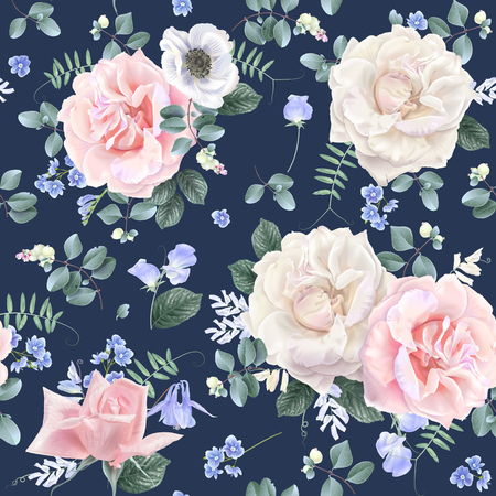 Vector botanical seamless pattern with white and pink roses and blue flowers on dark blue. Floral background for natural cosmetics, women products, greeting wedding card, wrapping paper, fabric print