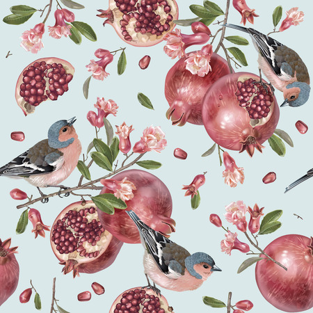 Vector seamless pattern with birds on a pomegranate branch with fruits and flowers on blue. Romantic background for wedding invitation, birthday, fabric, healfy food, halal cosmetics, scrapbook Çizim