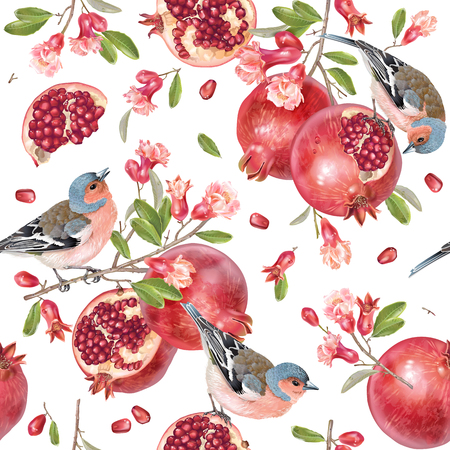 Vector seamless pattern with birds on a pomegranate branch with fruits and flowers on white. Romantic background for wedding invitation, birthday, fabric, healfy food, halal cosmetics, scrapbook
