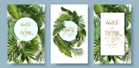 Karta zaproszenie na ślub wektor zestaw z zielonych liści tropikalnych na białym tle. Egzotyczny projekt botaniczny na ceremonię ślubną. Może być stosowany do kosmetyków, spa, perfum, salonu kosmetycznego, biura podróży