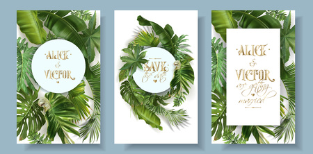 Vector wedding invitation card set with green tropical leaves on white background. Exotic botanical design for wedding ceremony. Can be used for cosmetics, spa, perfume, beauty salon, travel agency