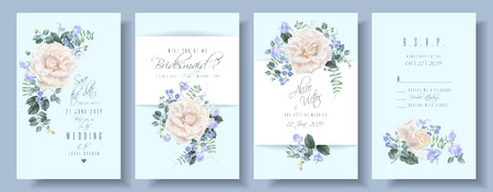 Vector wedding cards set with white roses