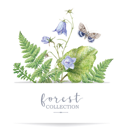 Watercolor banner with forest plants and butterfly