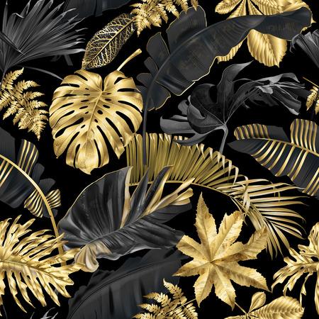 Vector nahtloses Muster mit goldenen und schwarzen tropischen Blättern auf dunklem Hintergrund. Exotisches botanisches Hintergrunddesign für Kosmetik, Spa, Textil, Hemd im hawaiianischen Stil. Am besten als Geschenkpapier, Tapete