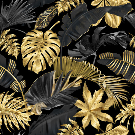 Vector seamless pattern with gold and black tropical leaves on dark background. Exotic botanical background design for cosmetics, spa, textile, hawaiian style shirt. Best as wrapping paper, wallpaper Çizim