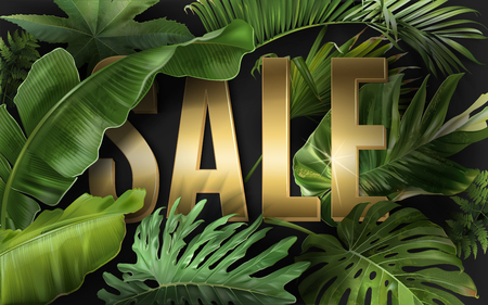 Vector advertising banner with green tropical leaves and gold SALE word on black. Exotic botany design for woman health care product discount, cosmetics, spa, perfume season offer