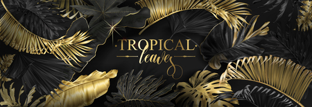 Vector horizontal banner with gold, silver and black tropical leaves on dark background. Luxury exotic botanical design for cosmetics, spa, perfume, health care products, wedding. Best as web banner