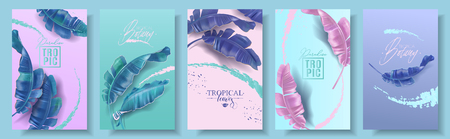 Vector tropical banners set. Purple, pink and emerald banana leaves with splashes. Exotic botany design for cosmetics, spa, perfume, health care product, tourist agency.Best as summer party invitation