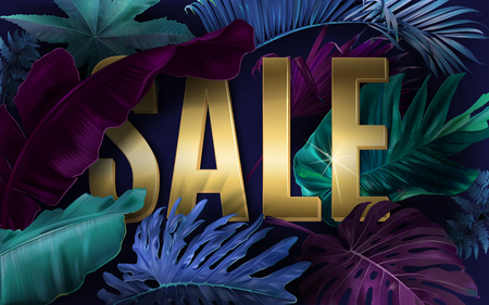 Vector advertising banner with bright color tropical leaves and gold SALE letters. Exotic botany design for woman health care product discount, cosmetics, spa, perfume season offer