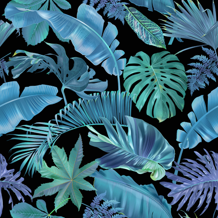 Vector seamless pattern with blue and emerald tropical leaves on black background. Exotic botanical background design for cosmetics, spa, textile, hawaiian shirt. Best as wrapping paper, wallpaper