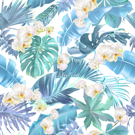 Vector seamless pattern with blue tropical leaves and orchid flowers on white. Exotic botanical background design for cosmetics, spa, textile, hawaiian shirt. Best as wrapping paper, wallpaper Çizim