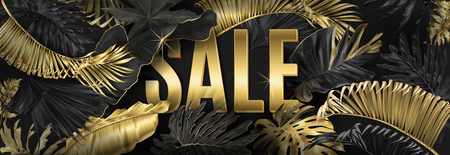 Vector advertising horizontal banner with gold and black tropical leaves and gold SALE Exotic botany design for woman health care products discount, cosmetics, spa, season offer. Best as web banner