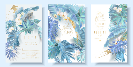 Vector vertical wedding invitation card set with light blue tropical leaves and orchid flowers. Save the date and R.S.V.P. botany design for wedding ceremony. Can be used for cosmetics, beauty salon Çizim