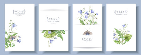 Aquarell-Banner-Set mit Waldpflanzen Schmetterling