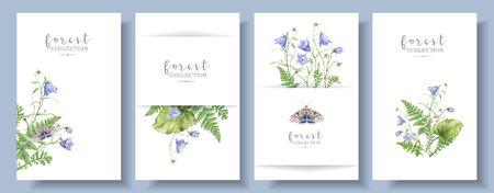 Bannière aquarelle sertie de papillon de plantes forestières