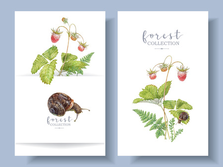 Watercolor banners with forest stawberry and snail