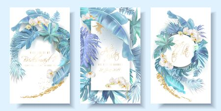 Tropical blue leaves and orchid wedding cards