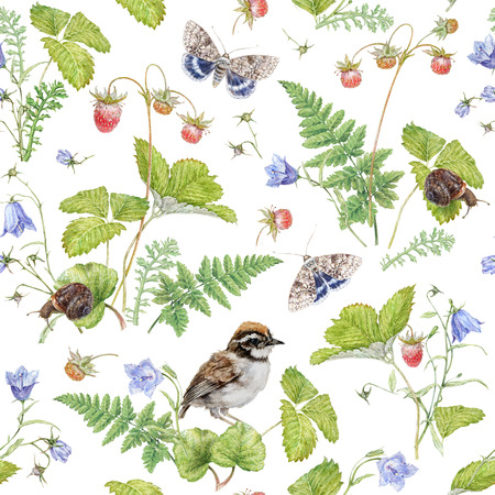 Watercolor seamless pattern with berry and bird Archivio Fotografico - 123123432