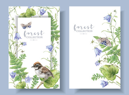 Watercolor banners with forest plants and bird Stockfoto