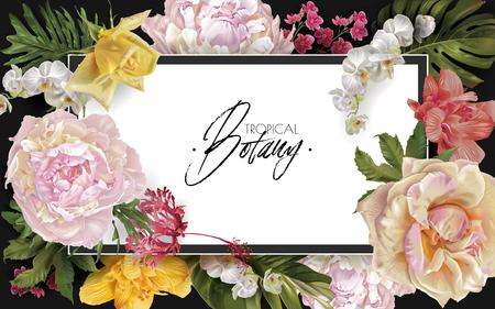 Vektorweinleseblumenrahmen mit Gartenrosen, Pfingstrosen und tropischen Blättern auf Schwarzem. Romantisches Design für Naturkosmetik, Parfüm, Damenprodukte. Kann als Grußkarte oder Hochzeitseinladung verwendet werden