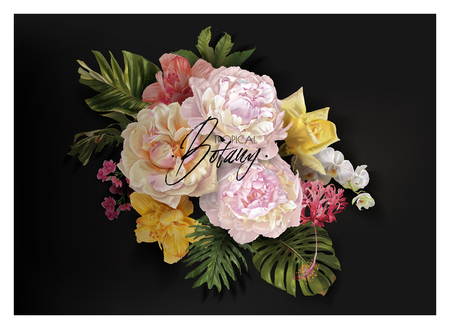 Vector vintage floral banner with garden roses, peonies and tropical leaves on black. Romantic design for natural cosmetics, perfume, women products. Can be used as greeting card or wedding invitation Çizim