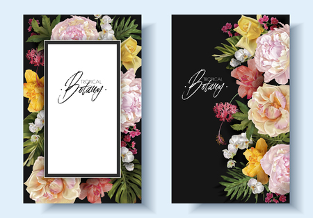 Vector vintage floral banners with garden roses, peonies and tropical leaves on black. Romantic design for natural cosmetics, perfume, women products. Can be used as greeting card, wedding invitation Çizim