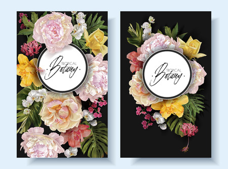 Vector vintage floral banners with garden roses, peonies and tropical leaves on black. Romantic design for natural cosmetics, perfume, women products. Can be used as greeting card, wedding invitation Illustration