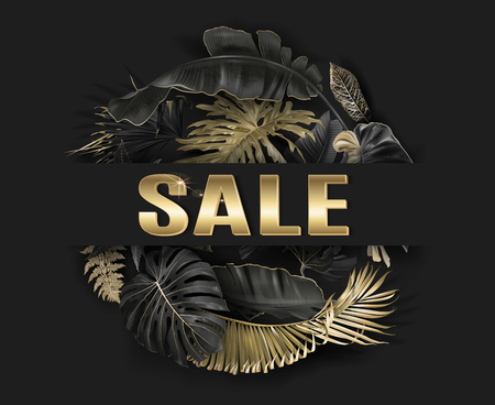 Vector advertising banner with gold and black tropical leaves and gold SALE word on black. Exotic botany design for woman health care product discount, cosmetics, spa, perfume season offer
