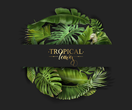 Vector circle banner with green tropical leaves on black background. Exotic botanical design for cosmetics, spa, perfume, beauty salon, travel agency, florist shop. Best as packaging design Çizim
