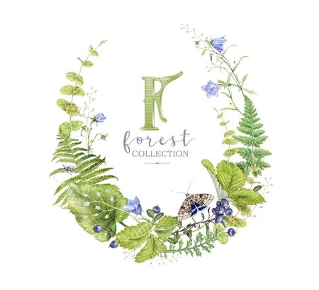 Watercolor wreath with forest plants and butterfly 스톡 콘텐츠