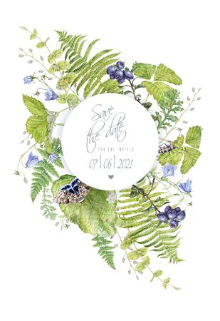 Watercolor round frame with forest plants butterfly