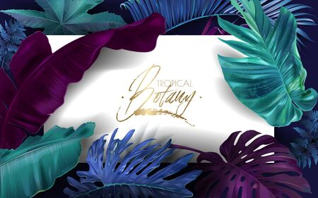 Vector banner with color tropical leaves on black background. Exotic botanical design for cosmetics, spa, perfume, beauty salon, travel agency, florist shop. Best as packaging design