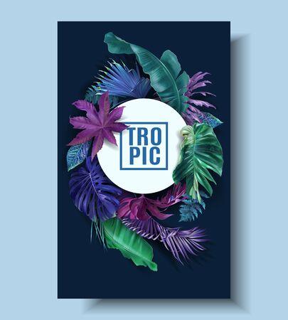 Vector frame banner with color tropical leaves Ilustração