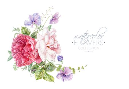 Watercolor composition with pink roses and violet flowers isolated on white background. Botanical arrangement for natural cosmetics, women products packaging, summer background, greeting design
