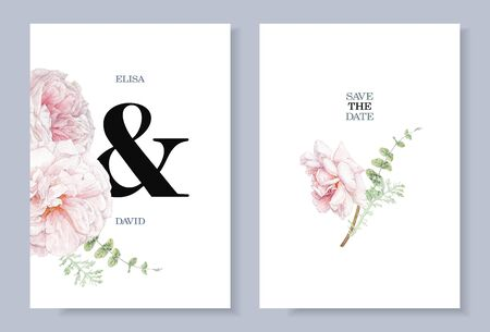 Watercolor pink rose flowers wedding invitation cards
