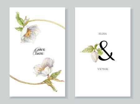 Watercolor white hellebore flowers wedding invitation cards Banco de Imagens