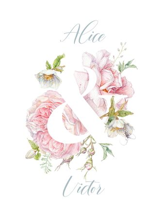 Watercolor pink rose flower wedding invitation card Banco de Imagens