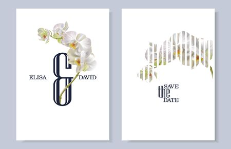 Vector vertical wedding invitation cards with white tropical orchid flowers on white background. Botany Save the date, AND design for wedding ceremony. Can be used for cosmetics, beauty salon Ilustração