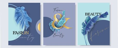 Vector banner with blue and turquoise tropical leaves on abstract background. Exotic design for fashion magazine cover, cosmetics packaging, spa, beauty shop flyer, travel agency, wedding invitation