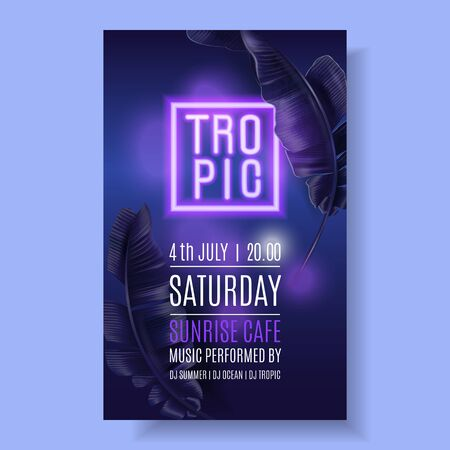 Vector tropical banner with purple banana leaves and pink neon letters on dark blue background. Exotic design for night music party, beach event invitation, dance party, summer sale, cosmetics flyer