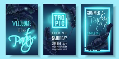 Vector violet neon banner set with tropical leaves