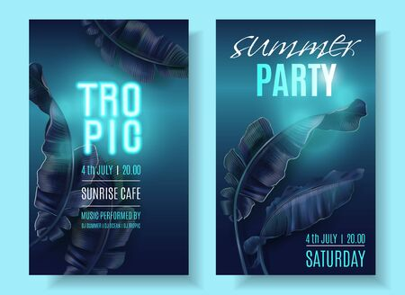 Vector tropical banner set with blue banana leaves and turquoise neon letters on dark blue background. Exotic design for night music party, beach event invitation, dance party, sale, cosmetics flyer