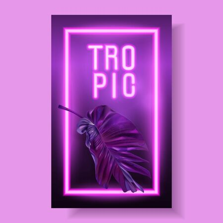 Vector banner with purple tropical leaves and pink neon letters on dark background. Exotic design for night music party, beach event invitation, dance party, summer sale, cosmetics flyer Ilustração