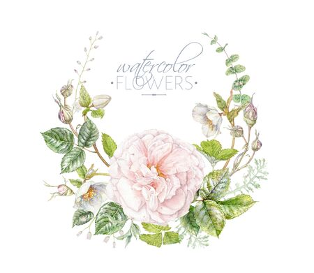 Watercolor hand drawn wreath with pink rose, helleboer flowes and leaves isolated on white background. Floral arrangement for cosmetics, women products, summer background, greeting design