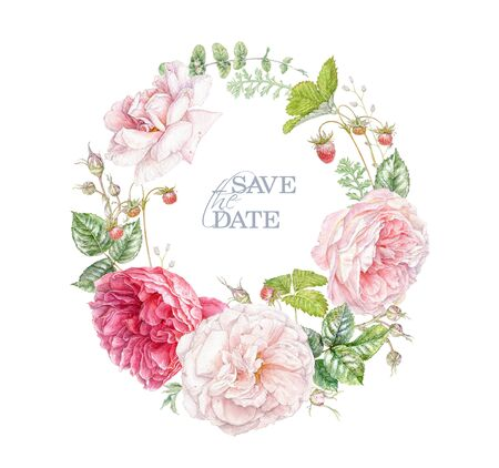 Watercolor hand drawn wreath with pink rose flowers, berries and leaves isolated on white background. Floral arrangement for natural cosmetics, women products, summer background, greeting design 免版税图像