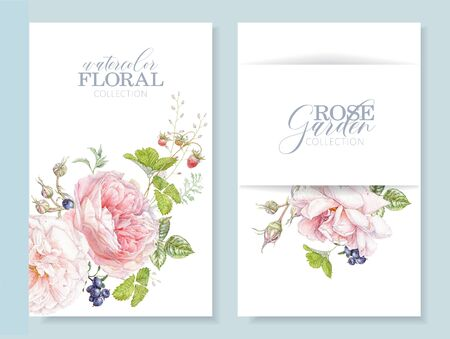 Watercolor cards with pink rose and berries