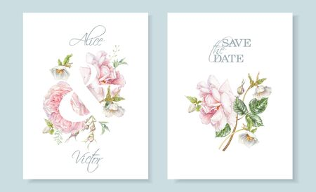 Watercolor hand drawn wedding invitation cards with pink rose and hellebore flower isolated on white. Botanical bouquet can be used for for cosmetics, women products, summer background,greeting design 免版税图像