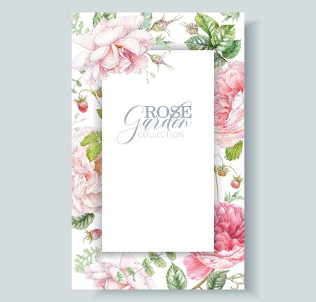 Watercolor hand drawn frame with pink rose flowers, berries and leaves isolated on white background. Floral card for natural cosmetics, women products, summer background, greeting or wedding design