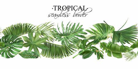 Vector seamless border with green tropical leaves Ilustração