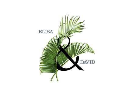 Vector wedding invitation AND composition with green tropical leaves on white background. Luxury exotic botanical design can be used as fashion arrangement, cosmetics, spa, perfume packaging design Ilustração